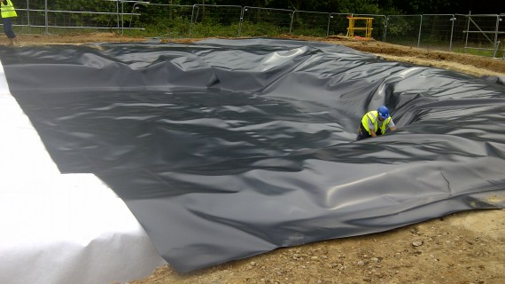Attenuation Systems - Installation of impermeable geomembranes & liner systems - Marie Curie - Pond Lining